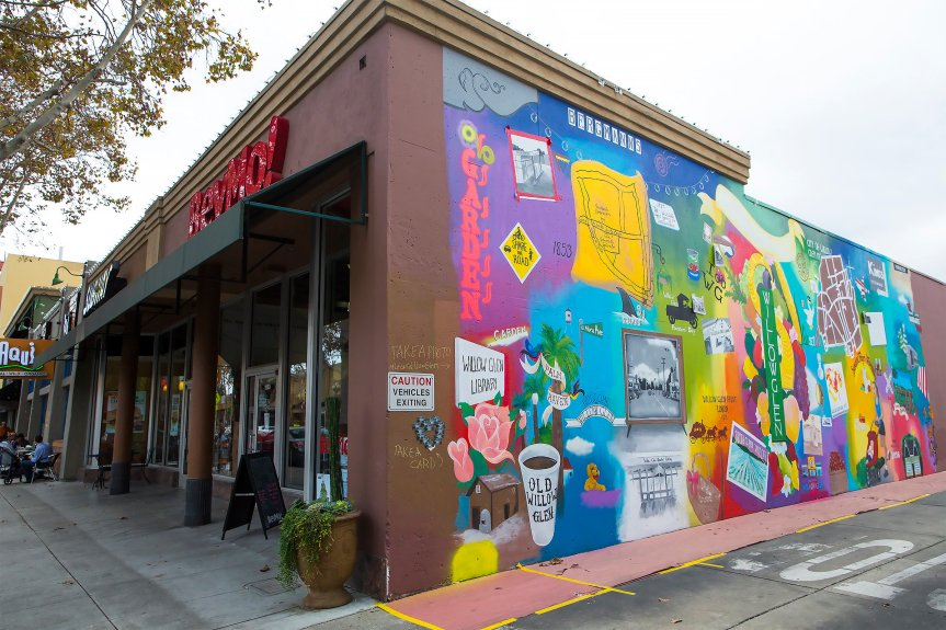 Photo Jacqueline Ramseyer/Bay Area News Group/Nov. 6, 2016 A new mural in downtown Willow Glen on Lincoln Avenue in San Jose was created by artist Lila Gemellos, who also did the fantastic, wrap-around mural at Falafel's Drive In, also in San Jose.
